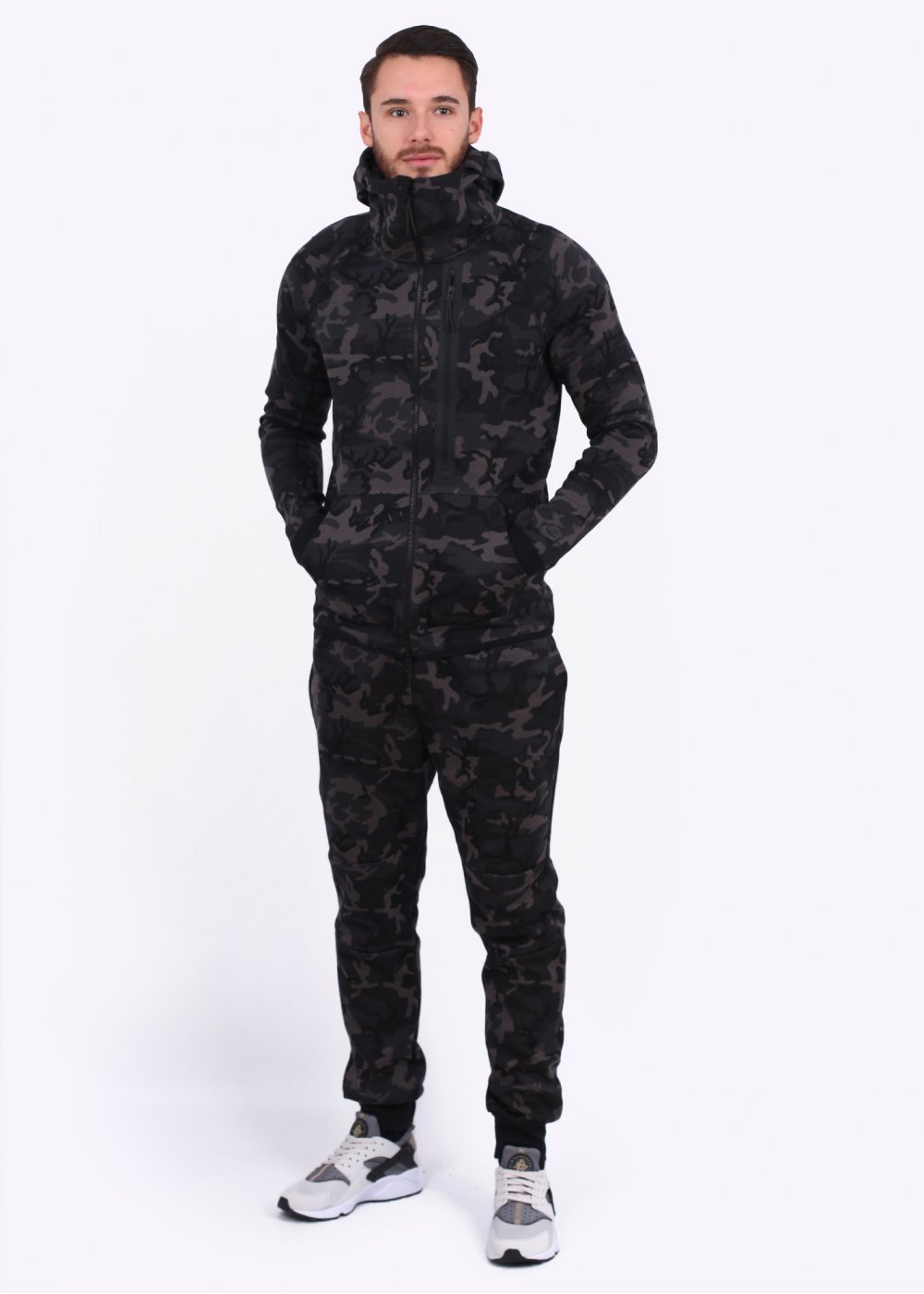 Nike Tech Fleece Camo Hoody Medium Ash