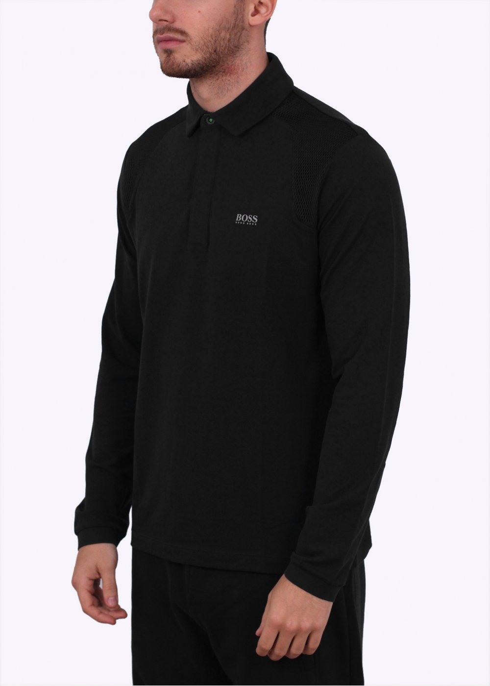 hugo boss green pleesy 2 long sleeve polo sweat black. Black Bedroom Furniture Sets. Home Design Ideas