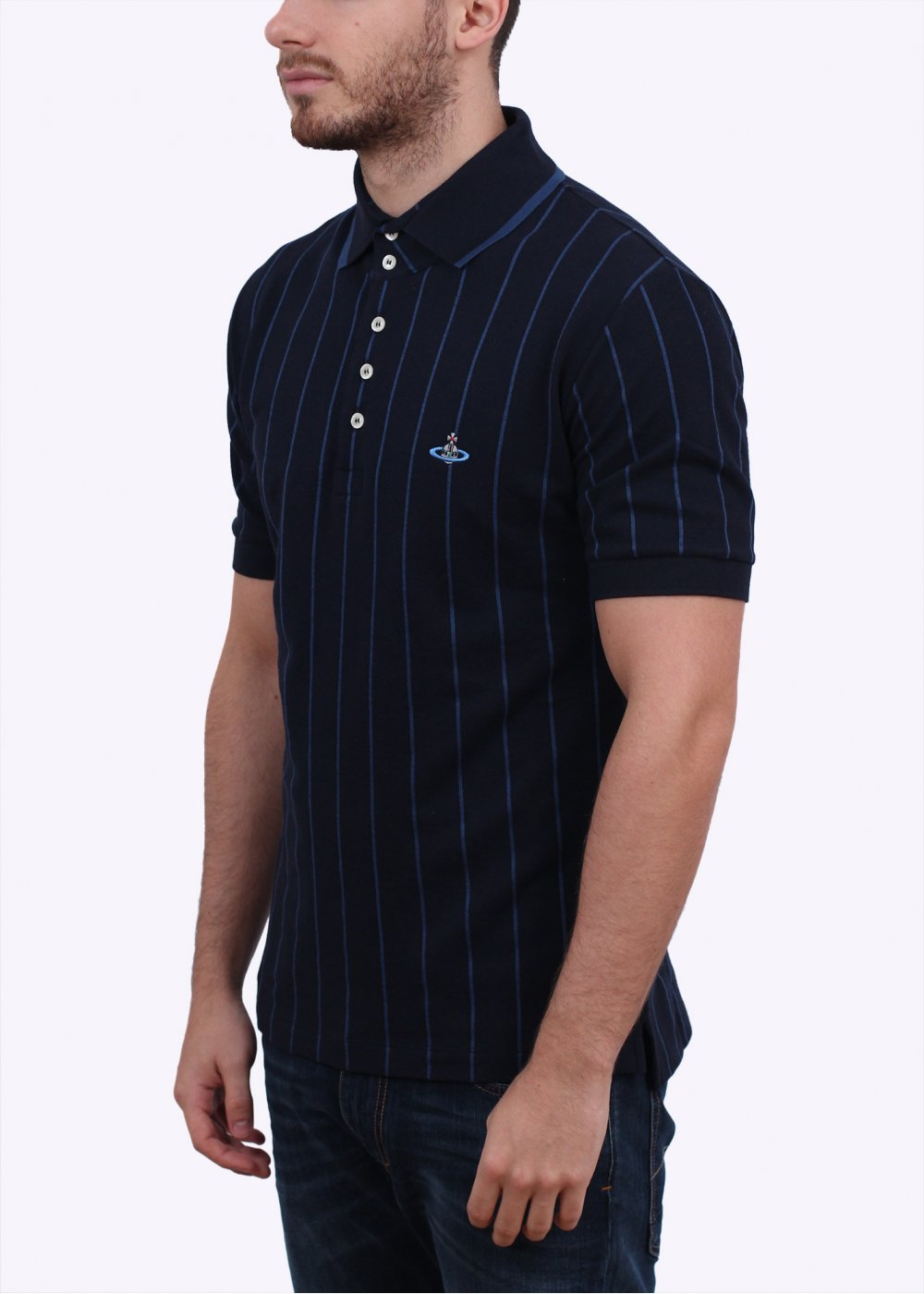 Vivienne westwood mens stripe polo shirt navy blue for Mens navy polo shirt