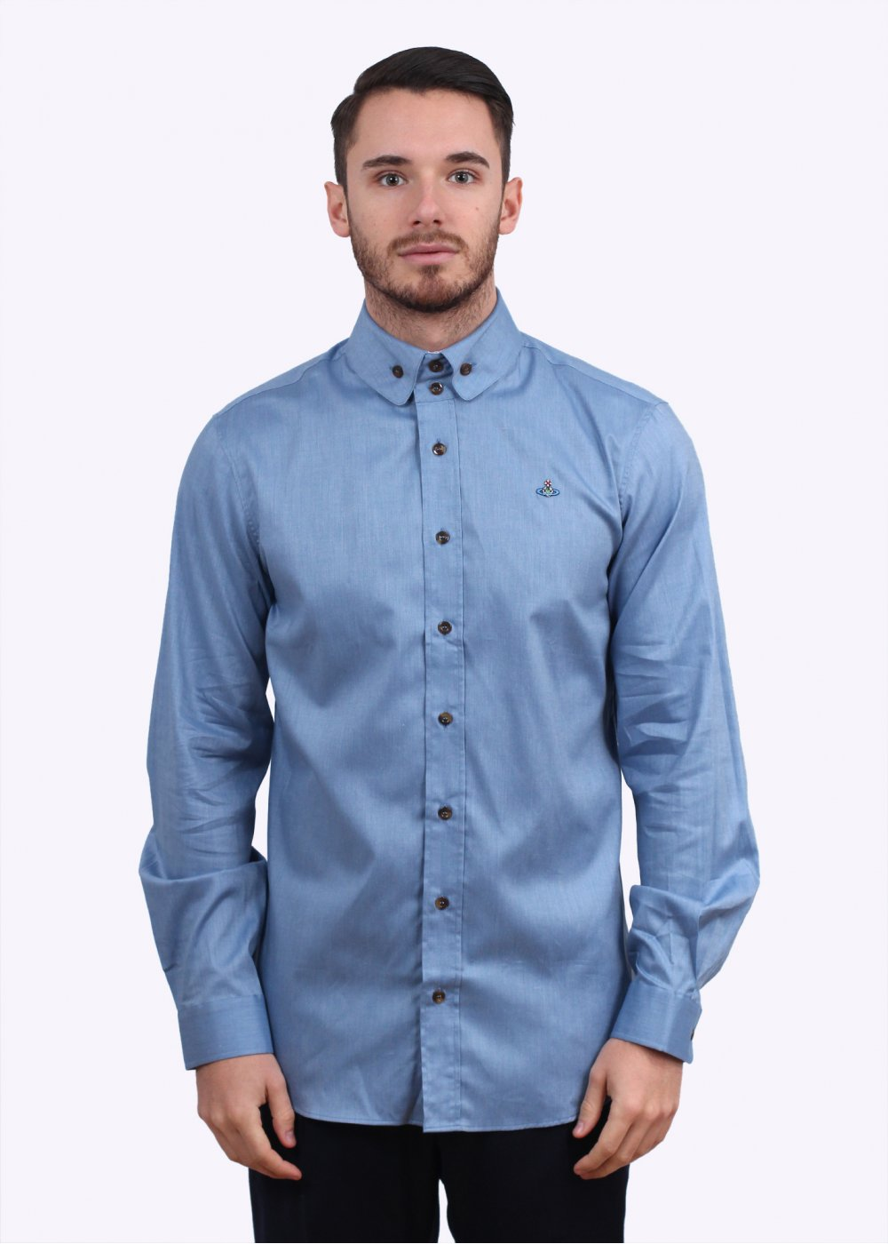 Vivienne westwood 2 button collar shirt blue for Mens button collar shirts