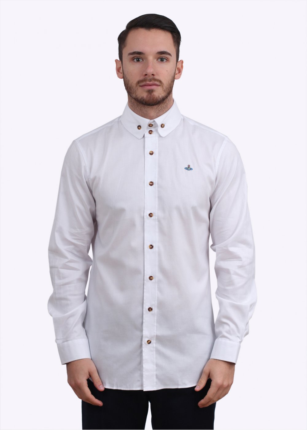 Vivienne westwood 2 button collar shirt white for White shirt with collar pin