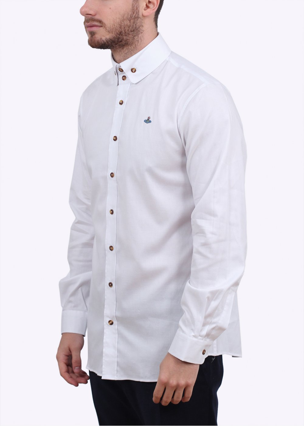 Vivienne westwood 2 button collar shirt white for Mens button collar shirts