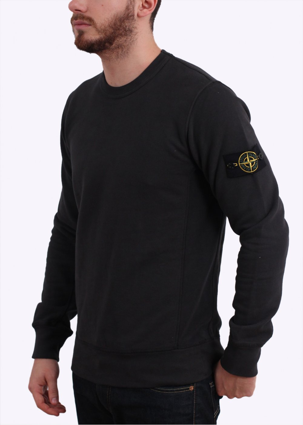 stone island crew sweater dark grey. Black Bedroom Furniture Sets. Home Design Ideas