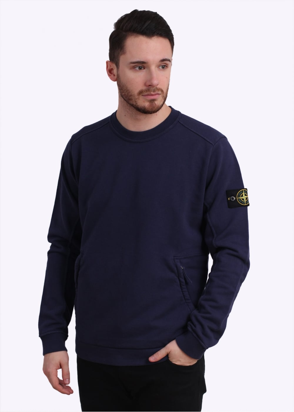 stone island zip logo sweatshirt navy. Black Bedroom Furniture Sets. Home Design Ideas