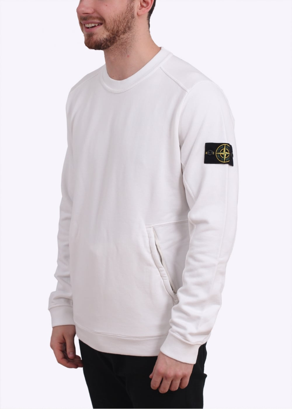 stone island zip logo sweatshirt white. Black Bedroom Furniture Sets. Home Design Ideas