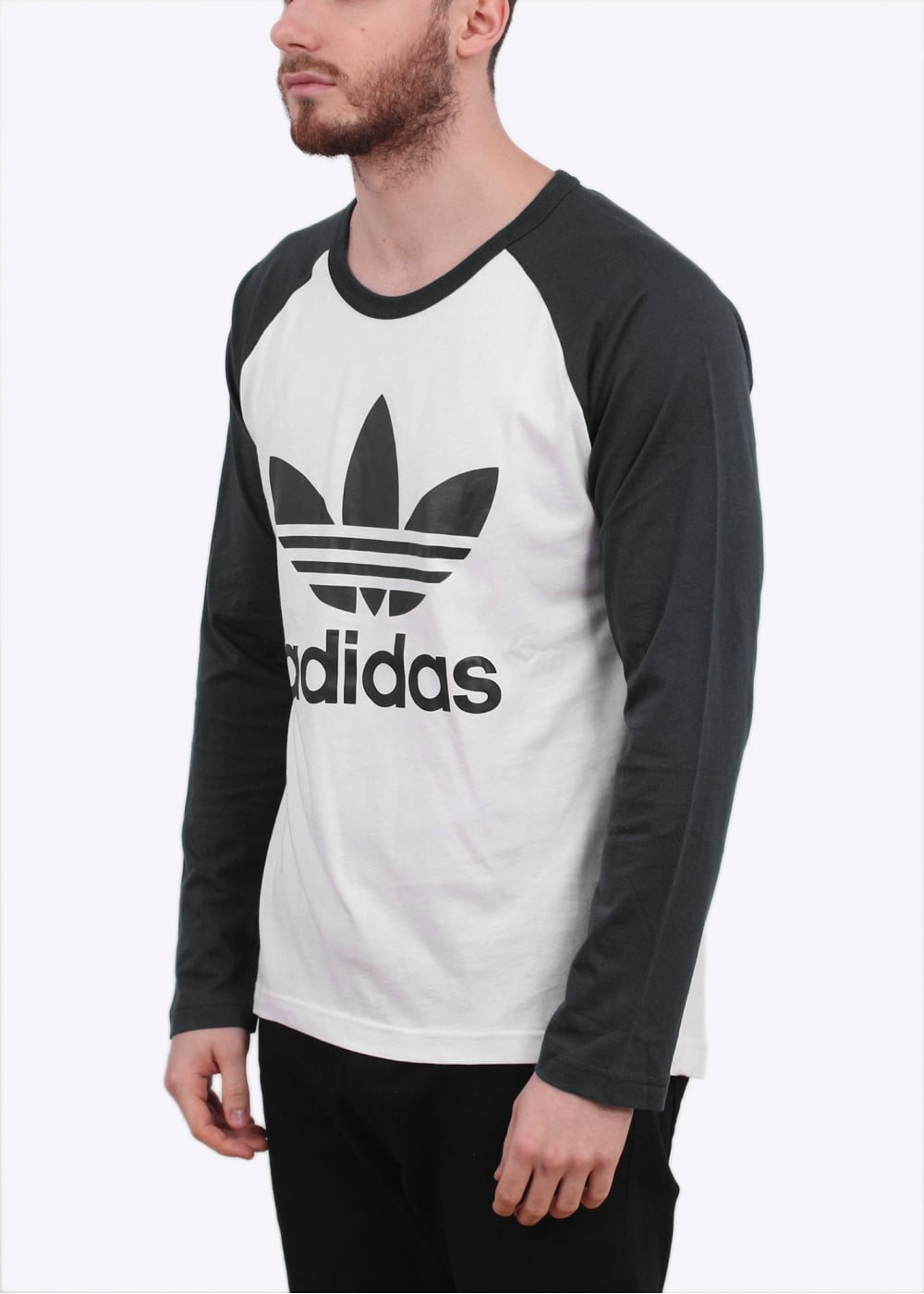 Adidas originals adi trefoil long sleeve tee white black for Adidas long sleeve t shirt with trefoil logo
