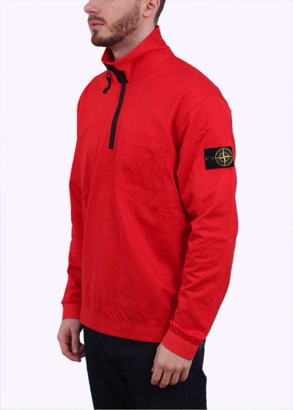 stone island 1 4 zip sweater red. Black Bedroom Furniture Sets. Home Design Ideas