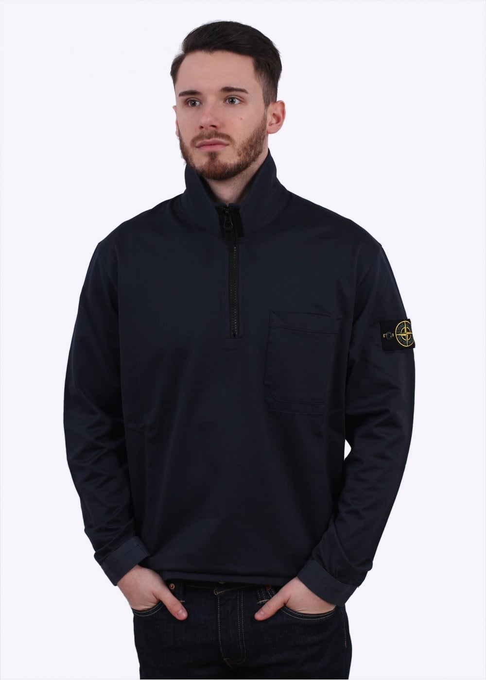 stone island 1 4 zip sweater navy. Black Bedroom Furniture Sets. Home Design Ideas