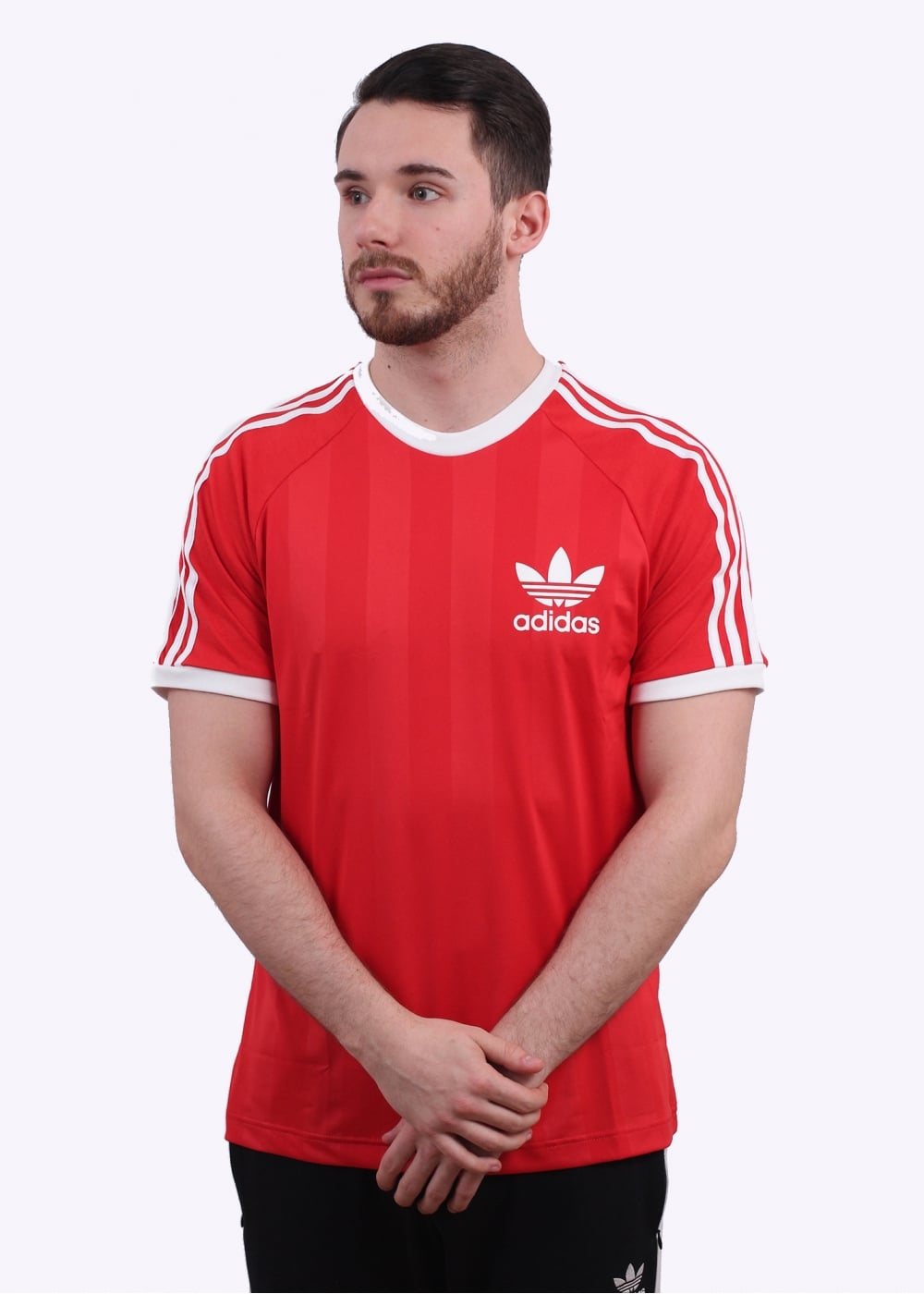 Adidas originals apparel stripe california tee red for Adidas ringer t shirt
