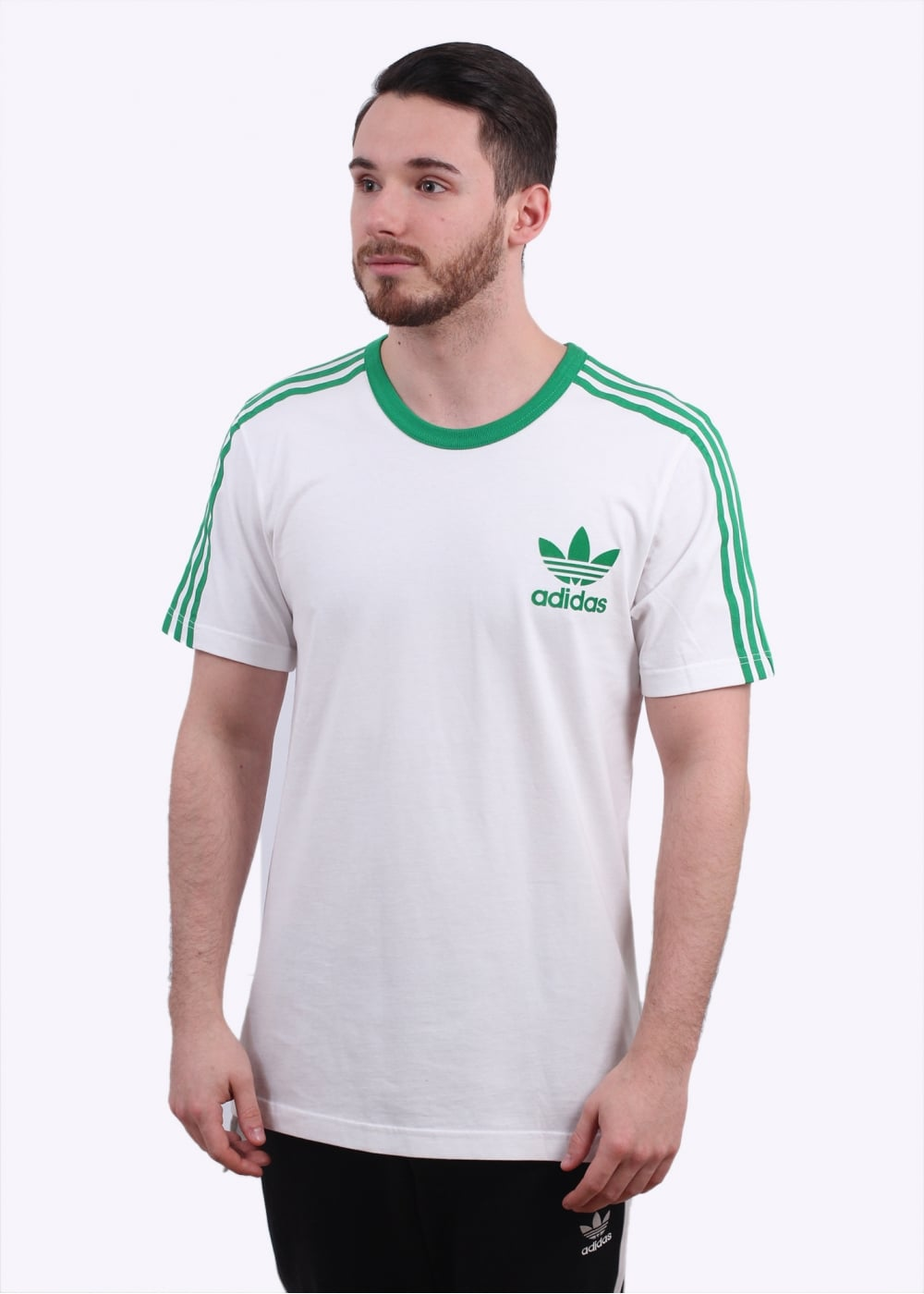 Adidas originals adicolour fashion tee white green for Adidas ringer t shirt
