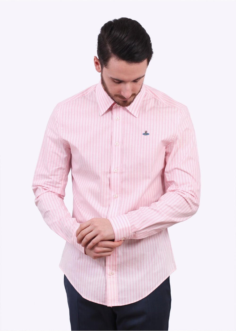 Vivienne westwood mens classic stretch striped shirt for Mens pink shirts uk