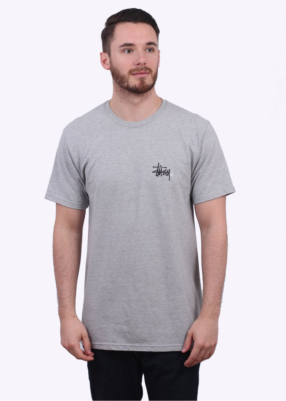 Stussy basic logo tee heather grey t shirts from triads uk for Mens heather grey t shirt