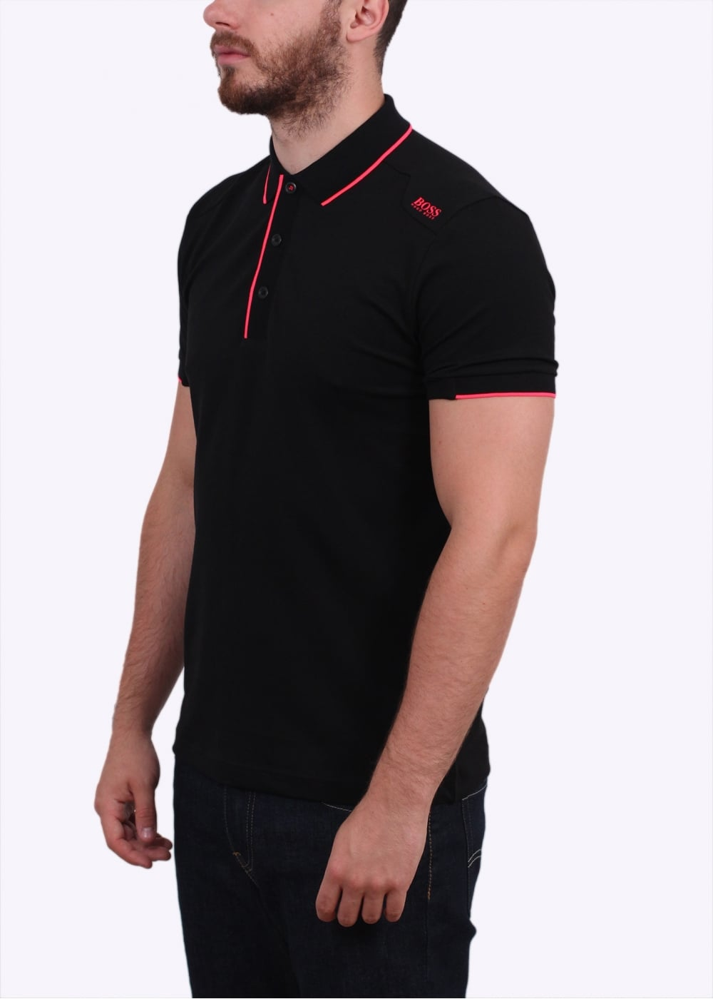Hugo boss green paule 1 polo shirt black hugo boss for Hugo boss green polo shirt sale