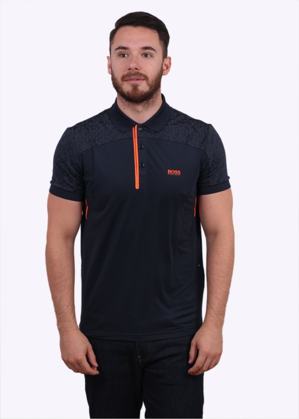 Hugo boss green pavotech polo shirt navy polo shirts for Hugo boss green polo shirt sale