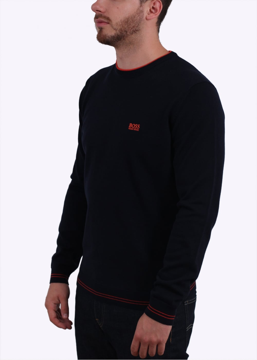 hugo boss green rime sweater navy hugo boss green from triads uk. Black Bedroom Furniture Sets. Home Design Ideas
