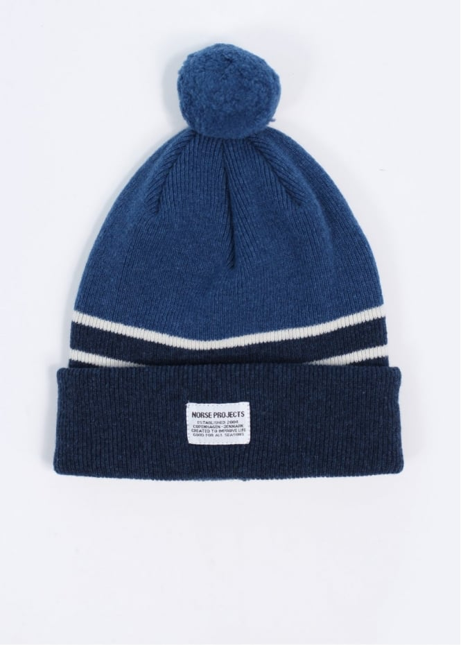 Norse Projects Borderline Lambswool Beanie - Dark Navy ef65360d19d
