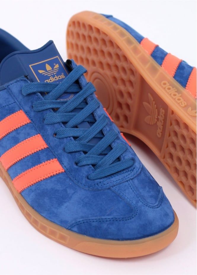 adidas hamburg trainers blue and red