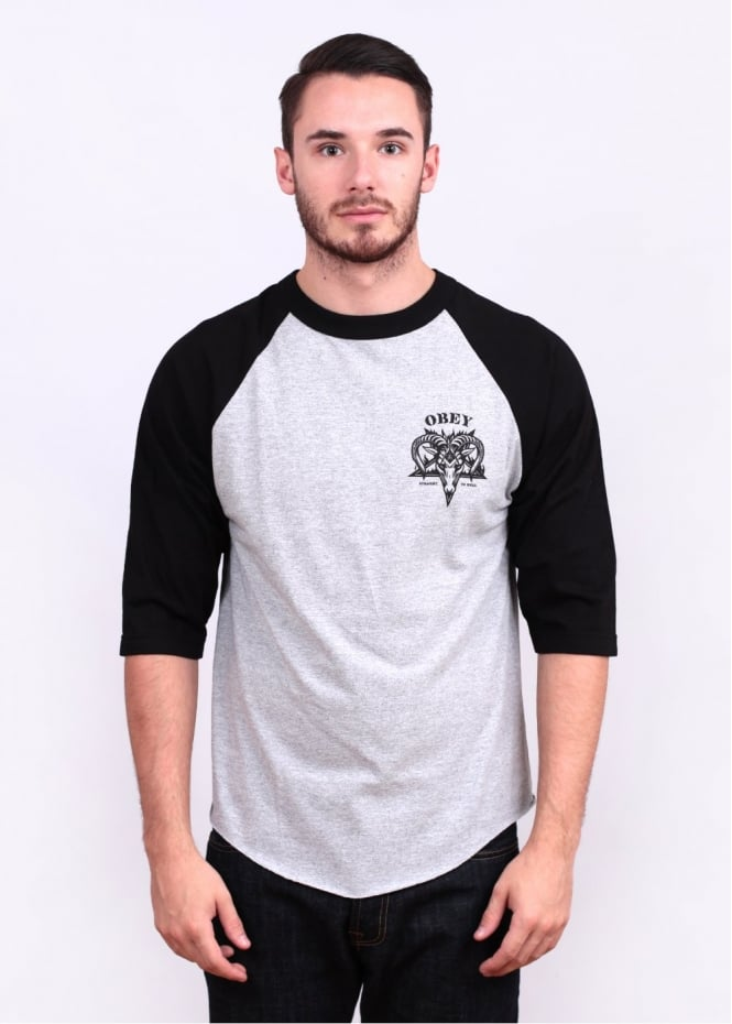 Obey Straight To Hell Raglan Tee - Grey/Black