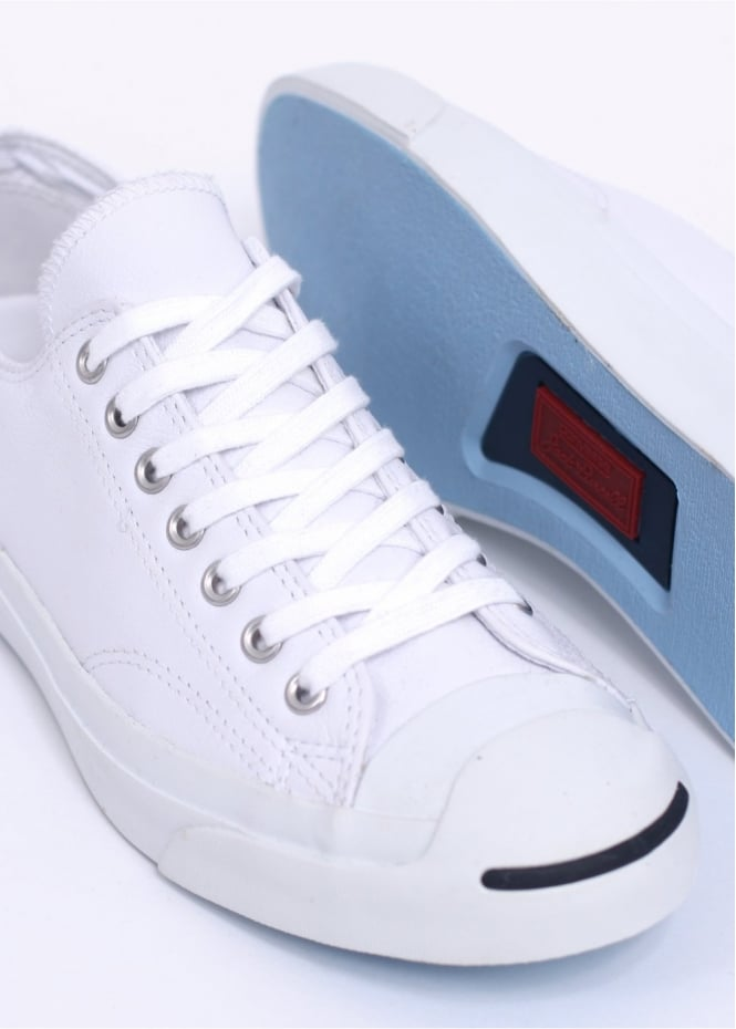 72f8b8d1fbc353 Converse Jack Purcell Leather Ox Trainers - White   Navy