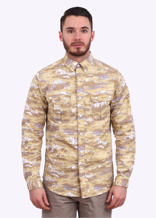 Barbour x White Mountaineering Wave Shirt - Stone Wave Print