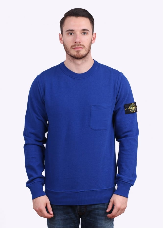 Stone Island Pocket Sweatshirt - Bright Blue