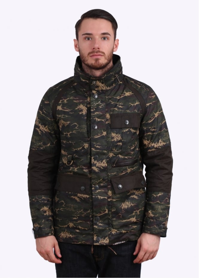 Barbour x White Mountaineering Brantmoto Wax Jacket - Olive Wave Camo