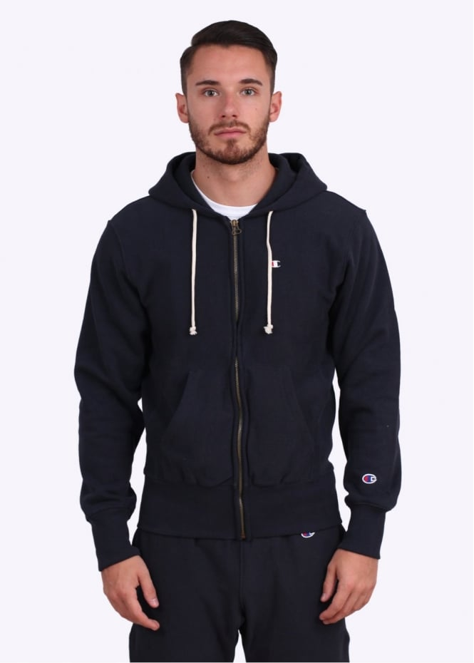 factory outlet unique style sophisticated technologies Champion Reverse Weave Full Zip Logo Hoodie - Navy Blue