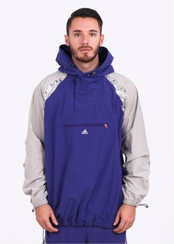 Adidas Originals Apparel x Kolor Tech Hooded Anorak Jacket - Purple / Orange / Granite