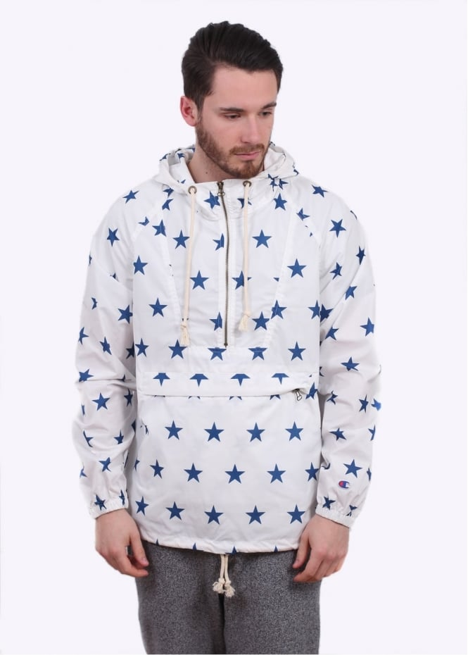 Champion Windrunner Jacket - White / Star Print