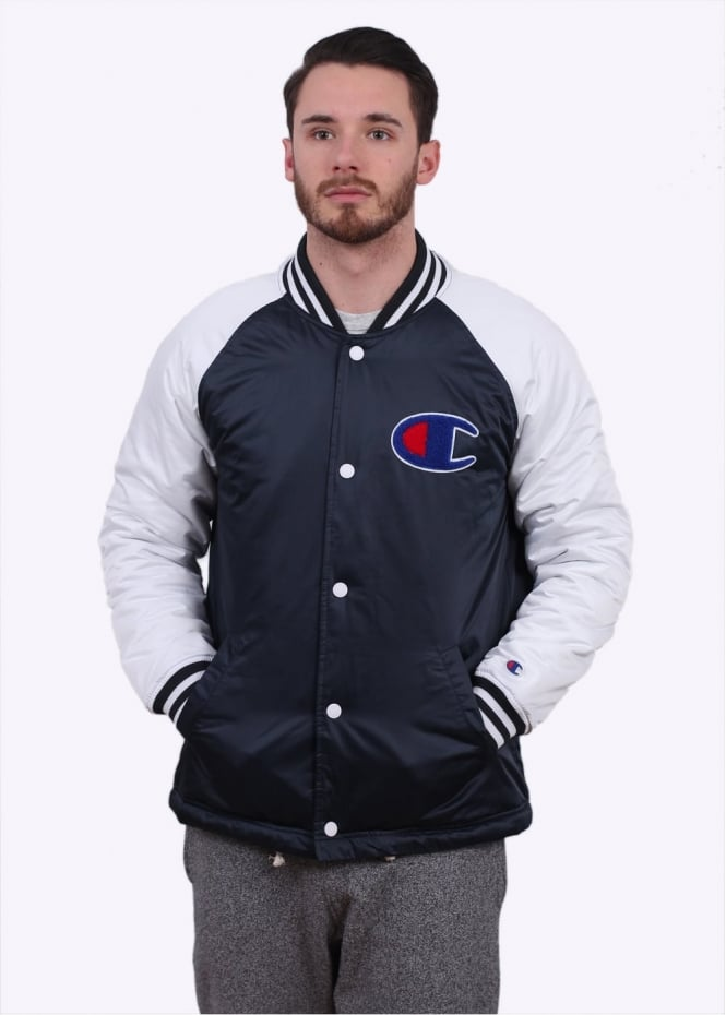 Champion Varsity Bomber Jacket - Navy / White