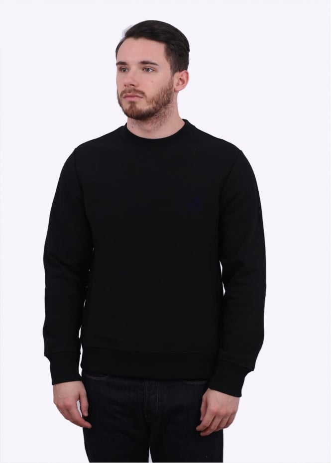 Paul Smith Flocked PS Logo Crew Sweater - Black