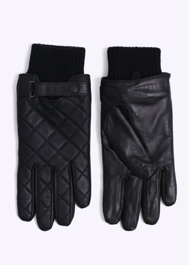 Barbour Quilted Leather Gloves - Black
