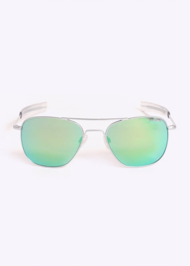 Randolph Engineering Aviator Sunglasses - Matte Chrome / Blue