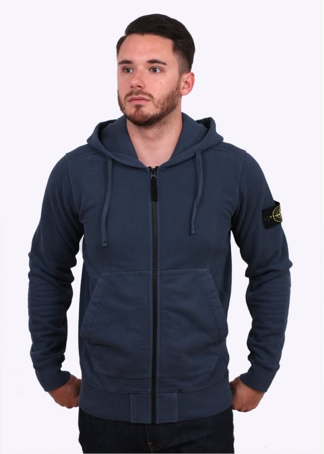Stone Island Garment Dyed Hooded Sweater - Petrol Blue