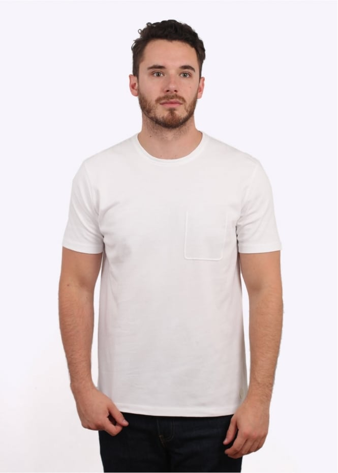 Folk Deboss Pocket Tee - White