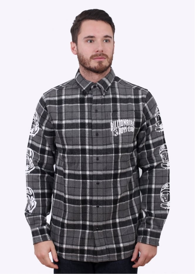 Billionaire Boys Club Helmet Print Flannel Shirt - Black