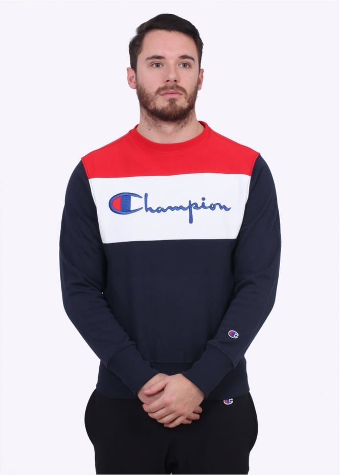 Champion Stripe Logo Crew Sweater - Navy / White / Red