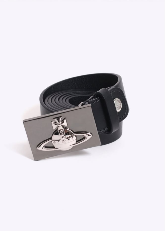 Vivienne Westwood Mens Silver Orb Square Buckle Belt - Black