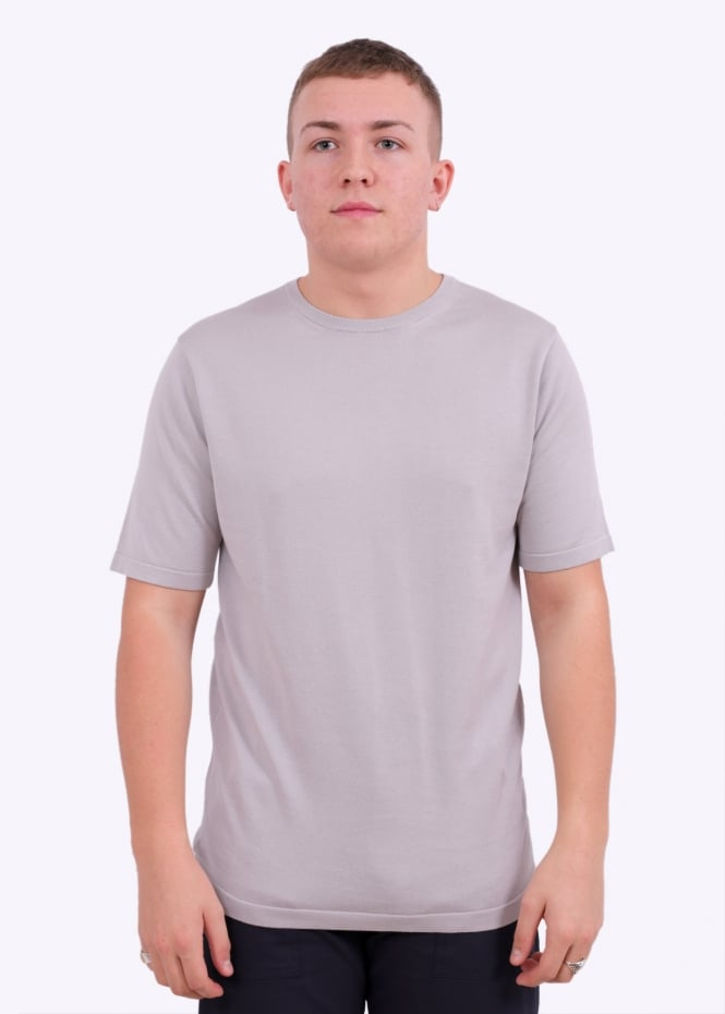 Sunspel Sea Island Cotton Knit T-shirt - Pebble Grey