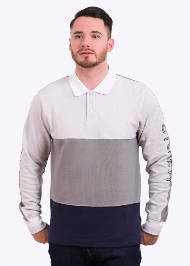 8cc4deb12 Stussy L/S Panel Pique Polo - Grey - Triads Mens from Triads UK