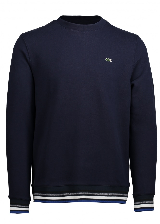 Lacoste Striped Accent Sweat - Navy