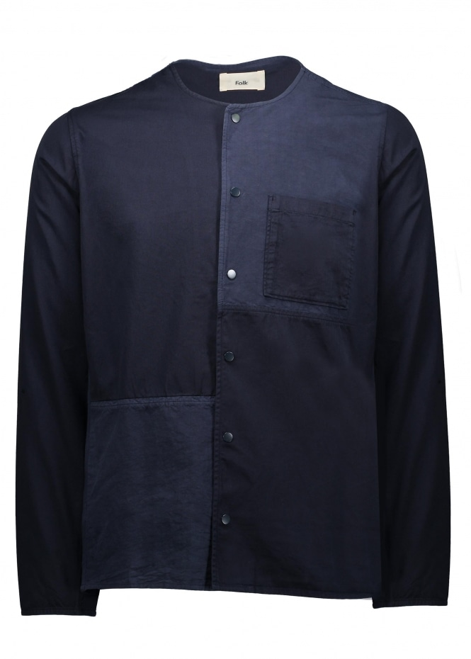 Folk Folk Combination Pop Stud Shirt - Navy