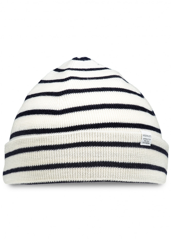 Norse Projects Classic Normandy Beanie - Ecru / Navy