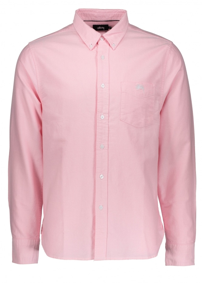 Stussy frank oxford shirt ls pink triads mens from for Pink oxford shirt men