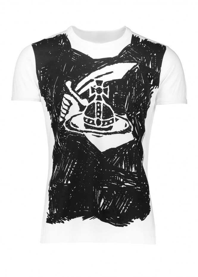 Vivienne Westwood Mens Anglomania Scribble Arm & Cutlass Tee - White