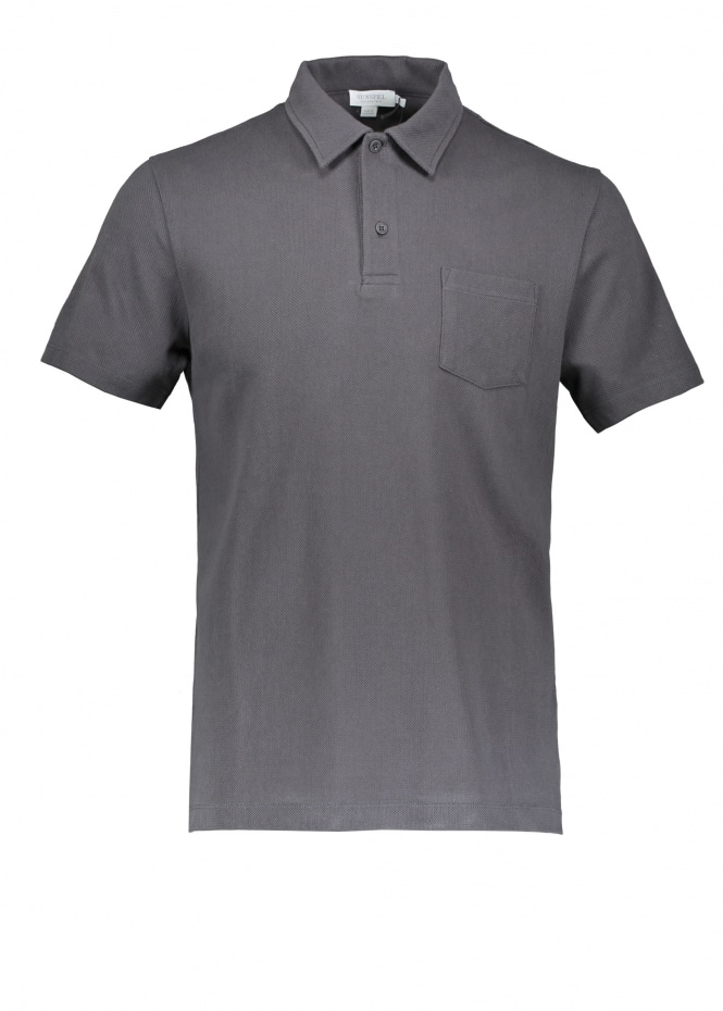 Sunspel SS Riviera Polo - Charcoal