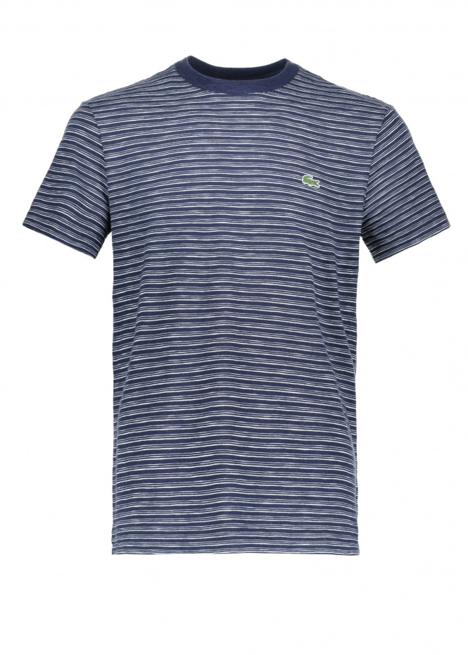 Lacoste Stripe T-Shirt - Navy Blue / Flour