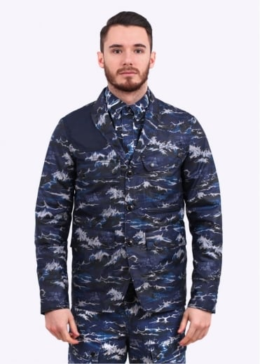 x White Mountaineering Wave Lapel Jacket - Navy Wave Print