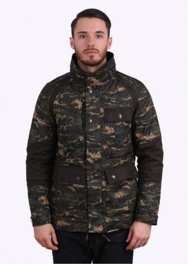 x White Mountaineering Brantmoto Wax Jacket - Olive Wave Camo