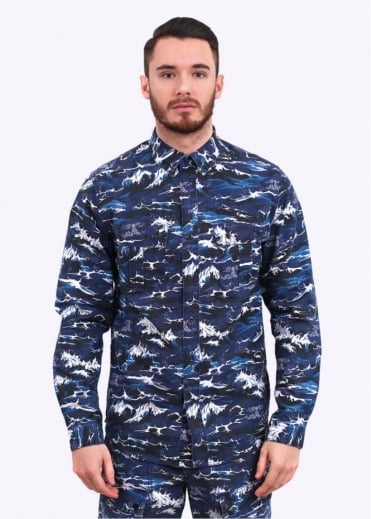 x White Mountaineering Wave Shirt - Blue Wave Print